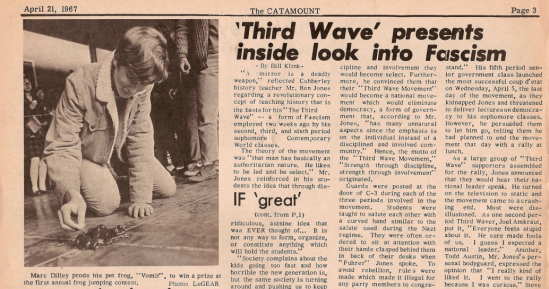Recorte del periódico del instituto donde se habla de la 'Tercera ola'