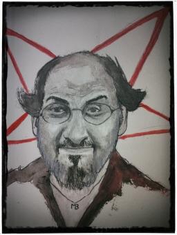 Retrato de Salman Rushdie por Matías Noel