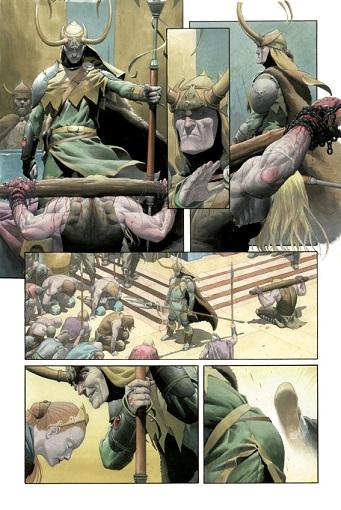 Interior del cómic, con Loki triunfal