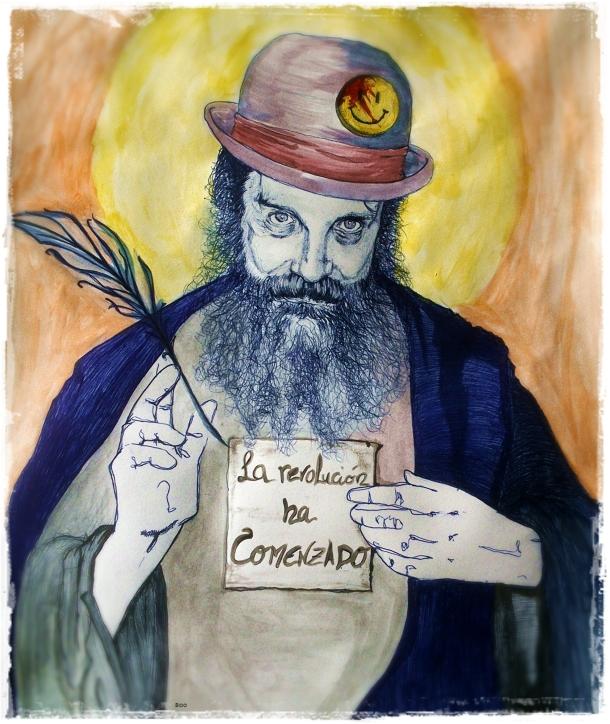 Alan Moore. Ilustración de Matías Noel