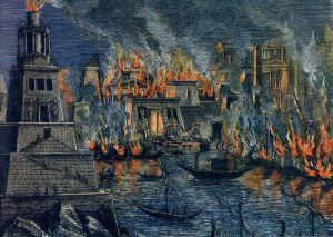Incendio de Alejandría por Hermann Goll. Fuente: Wikipedia