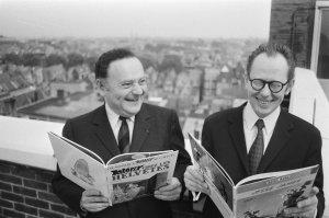 Morris (derecha) junto a Goscinny en Ámsterdam
